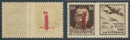 1944 RSI PROPAGANDA GUERRA 30 CENT VARIETà DECALCO MNH ** - W171 - Propagande De Guerre