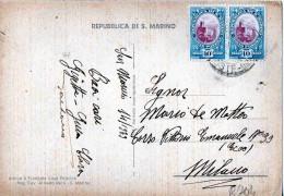 CARTOLINA -REPUBBLICA DI S.MARINO-LA ROCCA-1939-COPPIA DI CENT.10 - Saint-Marin