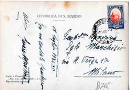 CARTOLINA -REPUBBLICA DI S.MARINO-PANORAMA E BORGO MAGGIORE-17-7-1934-CENT.20 - Saint-Marin