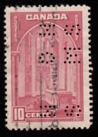 CANADA - Scott #241 Parliament Building, Ottawa 'Perfin OHMS' (1) / Used Stamp - Perfins