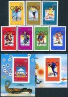 Korea 1979, SC #1821-29, Imperf 7V+S/S, Overprinted, 13th Winter Olympic Games - Winter 1980: Lake Placid