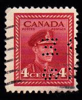 CANADA - Scott #254 George VI 'Perfin OHMS' (2) / Used Stamp - Perfins