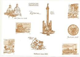 GRAVURE MEILLEURS VOEUX 2003  CAPITALES EUROPEENNES ROME - Blocks & Kleinbögen