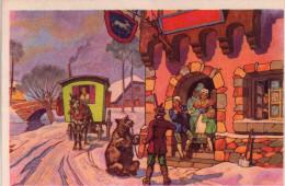 Chromo Format Carte Postale , Illustration Bohemiens, Gitans, Montreur D'ours - Ethniques & Cultures