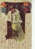 #3913 Glamour Fashion, UPU  Embossed Stylized Postcard Mailed 1904: Lady  With Hat And Admirer (17) - Mode