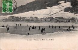 Cpa ..suisse.. Patinage Au Pont Lac De Vaux , Belle Scene Animee - VD Vaud