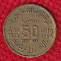 1 PIECE MAROC EMPIRE CHERIFIEN MAROCCO AN 1945/1364 - 50 CENTIMES (N°30) - Maroc