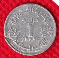 1 PIECE MAROC EMPIRE CHERIFIEN MAROCCO AN 1951/1370 - 1 FRANC (N°35) - Marruecos