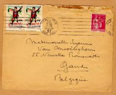Enveloppe Cover Brief Paris à Gand Belgique + Cinderella Paire Comité National De Défense Contre La Tuberculose - Brieven En Documenten