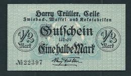 """Notgeld """"Harry Trüller, Celle"""" 1/2 Mark. 1918, Beids. Druck, RRRRR, UNC - [ 3] 1918-1933: Weimarrepubliek"""
