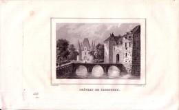 Carrouges, Le Château.  Gravée Sur Cuivre Par Lhuillier D'après Rauch - FRANCO DE PORT - Estampes & Gravures