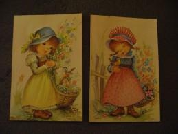 2 Cpa Vintage Dessin Fillette,fleurs,oiseaux Signées Baro. - Unclassified