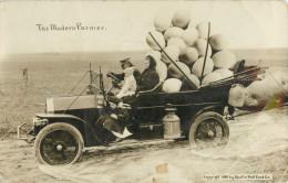 PHOTO MONTAGE - SURREALISME - THE MODERN FARMER - 1909 BY MARTIN POST CARD - CARS        PHOTOMONTAGE SURREALIM - Photographs