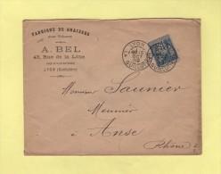 Lyon - La Guillotiere - 15 Oct 1889 - Fabrique De Graisses Pour Voitures - Marcophilie (Lettres)