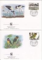Zambia FDC Scott #654-#657 Set Of 4 Saddle-billed Stork, Black-cheeked Lovebirds - WWF - Zambie (1965-...)