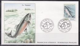 = Nature De France Poissons Enveloppe 1er Jour Neuilly Sur Seine 6.10.90 N° 2665 Le Saumon - 1990-1999