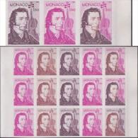 Monaco 1982 Y&T 1344. Bloc De 15, Essais De Couleurs. Nicolo Paganini, Violoniste Et Compositeur. Violon - Theologians