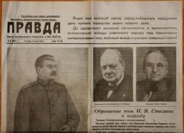 "USSR newspaper ""PRAVDA"" May 10 1945 WWII Victory Stalin, Churchill, Roosevelt"