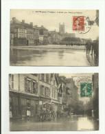 2 CPA:TROYES.(dép 10).VOITURE,FIACRE CIRCULANT DANS L'EAU RUE DE L'HÔTEL DE VILLE,PLACE DE LA PRÉFECTURE(1910)..ÉCRITES. - Troyes
