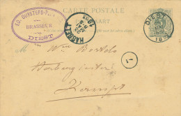 504/23 - BRASSERIE BELGIQUE - Entier Postal DIEST 1893 - Cachet Brasseur Duyster - Bières