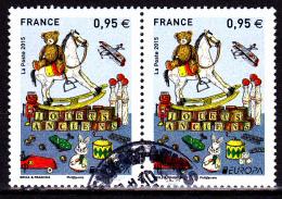 FRANCE Paire D'Europa 2015 Ayant Circulé/ USED - Oblitérés