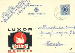 511/23 - BRASSERIE BELGIQUE - Entier Postal Publibel Pils Luxor DEMETS - Cachet RELAIS Etoiles STACEGEM 1951 - Bières