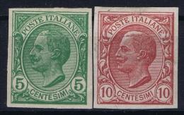 Italia: 1906  Sa 81e + 82e   , Mi Nr 88u + 89 U, MH/* Non Dentellatie Imperforated - 1900-44 Victor Emmanuel III