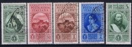 Italia: 1932 Sa A32 - A36  Mi 401 - 405 Used Airmail - 1900-44 Victor Emmanuel III