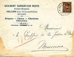 516/23 - BRASSERIE BELGIQUE - Lettre TP Képi 1934 - Entete Fermier-Brasseur Samain à HELCHIN - Cachet RELAIS Etoiles - Bières
