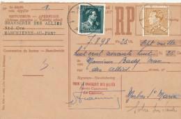 517/23 - BRASSERIE BELGIQUE - Carte Récépissé Brasserie Des Alliés MARCHIENNE AU PONT 1954 - Bières