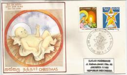 Noël Au Sri Lanka (Ceylan), Belle Lettre FDC Adressée En Indonésie - Sri Lanka (Ceylon) (1948-...)