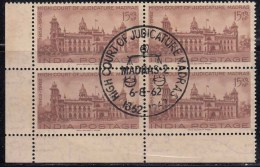 First Day Postmark On Mint  Block Of 4, Madras High Court, India 1962 - Blocks & Sheetlets