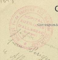 ALLASSAC Correze, Hopital Auxiliaire Sur CPA. PEU COMMUN. - Postmark Collection (Covers)