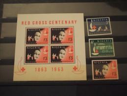NIGERIA - 1963 CROCE ROSSA 3 Valori + BF - NUOVI(++) - Nigeria (1961-...)
