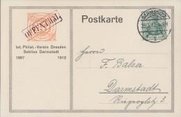 DR Anlasskarte Int. Philat. Verein Dresden Sektion Darmstadt EF Minr.85I Darmstadt 23.3.12 - Deutschland