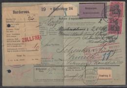 DR Paketkarte Nachnahme Mef Minr.2x 77 Hamburg 15.6.03 Gel. In Schweiz - Deutschland