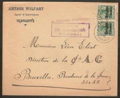 Brief  / Envelope PAPIERS D'AFFAIRES Verzonden Door WILFART AGENT D'ASSURANCES Naar LEON ELIAT DIRECTEUR AG ! - WW I