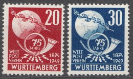 Germany France Occupation 1949 French Zone Wuttemberg Mi#51-52 Mint Never Hinged