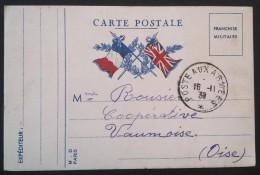 Carte De Franchise Militaire Deux Drapeaux Pour  Vaumoise Oise 1939 - Marcophilie (Lettres)