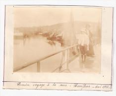 Photo Originale 1913 Voyage à La Mer HONFLEUR - Calvados 14 - Port Bateaux - Barche