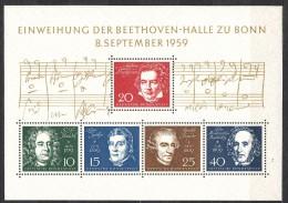 Germany 1959 Bethoven Mi#Block 2 Mint Never Hinged