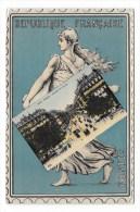 France ,  Carte Postale Représentant Une Semeuse Tenant Une Carte Postale De La Place De L'Opéra - Timbres (représentations)