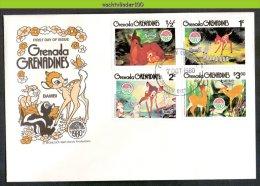 Muw1732b WALT DISNEY BAMBI HERT VOGELS VLINDERS KONIJN DEER SKUNK BUTTERFLIES BIRDS RABBIT GRENADA GRENADINES 1980 FDC´s - Disney