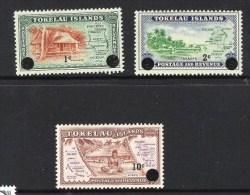 TOKELAU 1956 FREIMARKEN Mi 1-3 VON 1948 MIT NEUEM DEZIMAL-WERTAUFDRUCK; Mi 6-8** - Tokelau