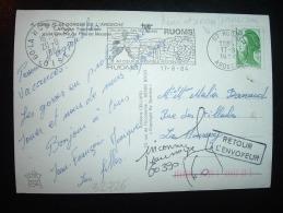 CP TP LIBERTE DE GANDON 1,70 VERT OBL.MEC. VARIETE 17-8-1984 RUOMS (07 ARDECHE) - 1982-90 Liberty Of Gandon