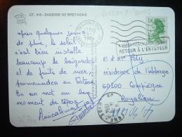 CP TP LIBERTE DE GANDON 1,70 OBL.MEC. VARIETE 24-7-1984 FOUESNANT (29 FINISTERE) - 1982-90 Liberty Of Gandon