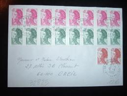 LETTRE TP LIBERTE DE GANDON 0,15 X8 + 0,10 X2 + 0,05 X8 OBL.12-4-1983 CHAMBOULIVE CORREZE (19) - 1982-90 Liberté (Gandon)