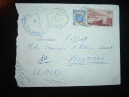 LETTRE PAR AVION POUR LE LAOS TP TIPASA 50F + TLEMCEN 5F OBL. HEXAGONALE TIRETEE 14-11-1957 LIEBERT ALGER + CACHET REGIM - Algeria (1924-1962)