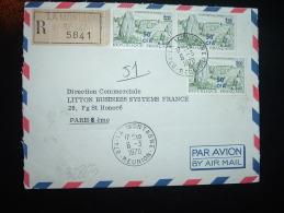 LR POUR FRANCE TP CARNAC 50F CFA Sur 1,00 X3 OBL.6-3-1970 LA MONTAGNE (974 REUNION) + GRIFFE - Reunion Island (1852-1975)