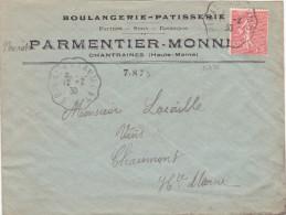 14450# SEMEUSE LETTRE De CHANTRAINES Obl EPINAL A CHAUMONT * 1930 VOSGES HAUTE MARNE CONVOYEUR LIGNE - 1921-1960: Période Moderne